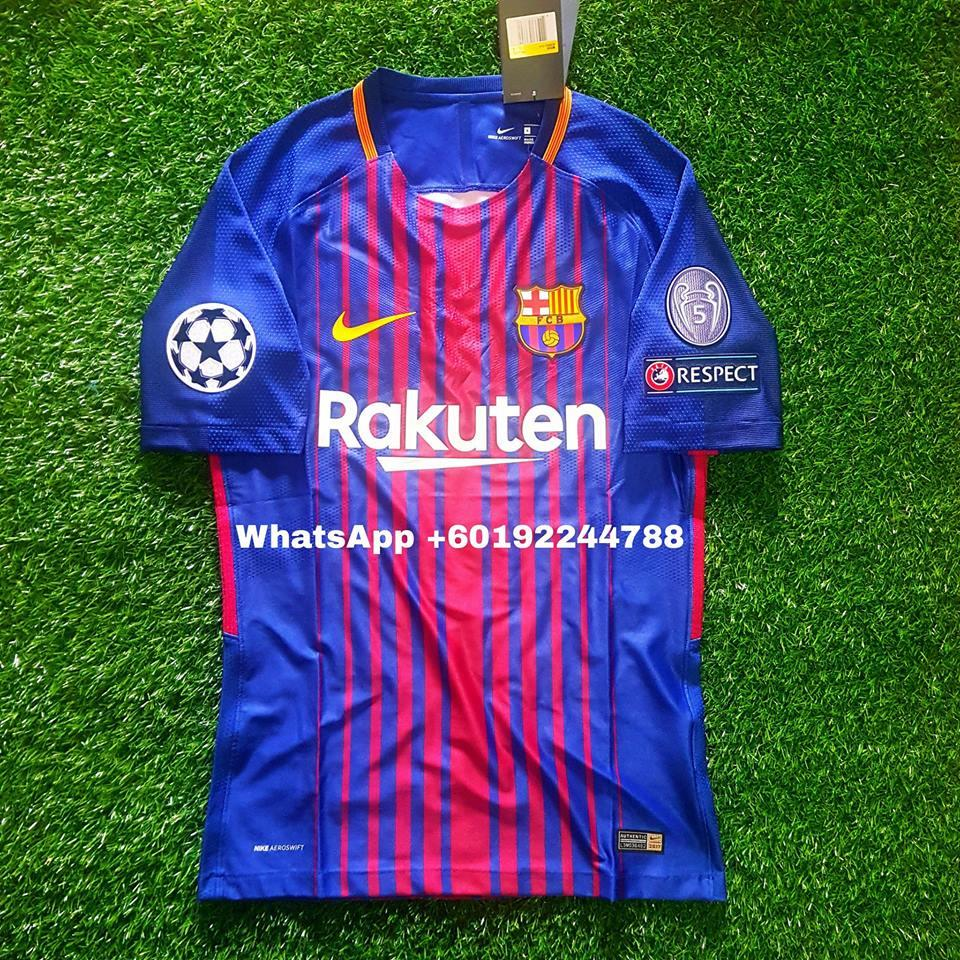 purchase cheap ad0e1 1fc68 BARCELONA HOME JERSEY / JERSI 2017/18 FULL SPEC PATCH UCL