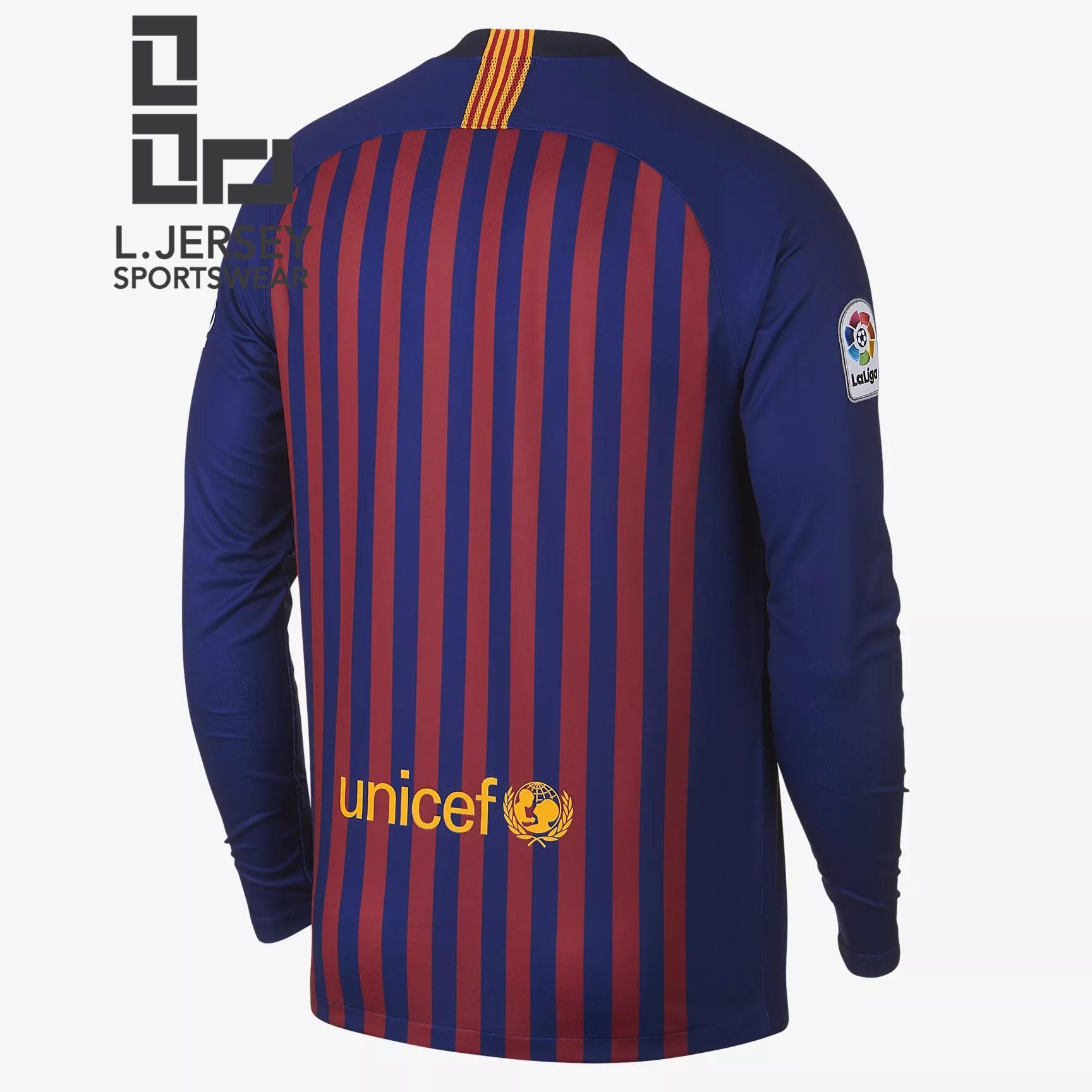 new style 83d52 51e0f Barcelona Men Home Long Sleeve 2018/19 Fans Jersey