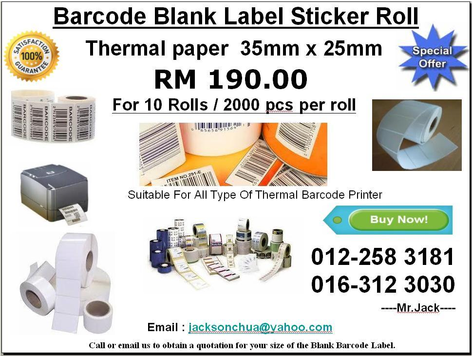 Barcode Blank Thermal Label Sticker (Thermal Paper Label)