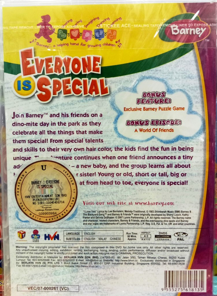 Barney Everyone Is Special DVD
