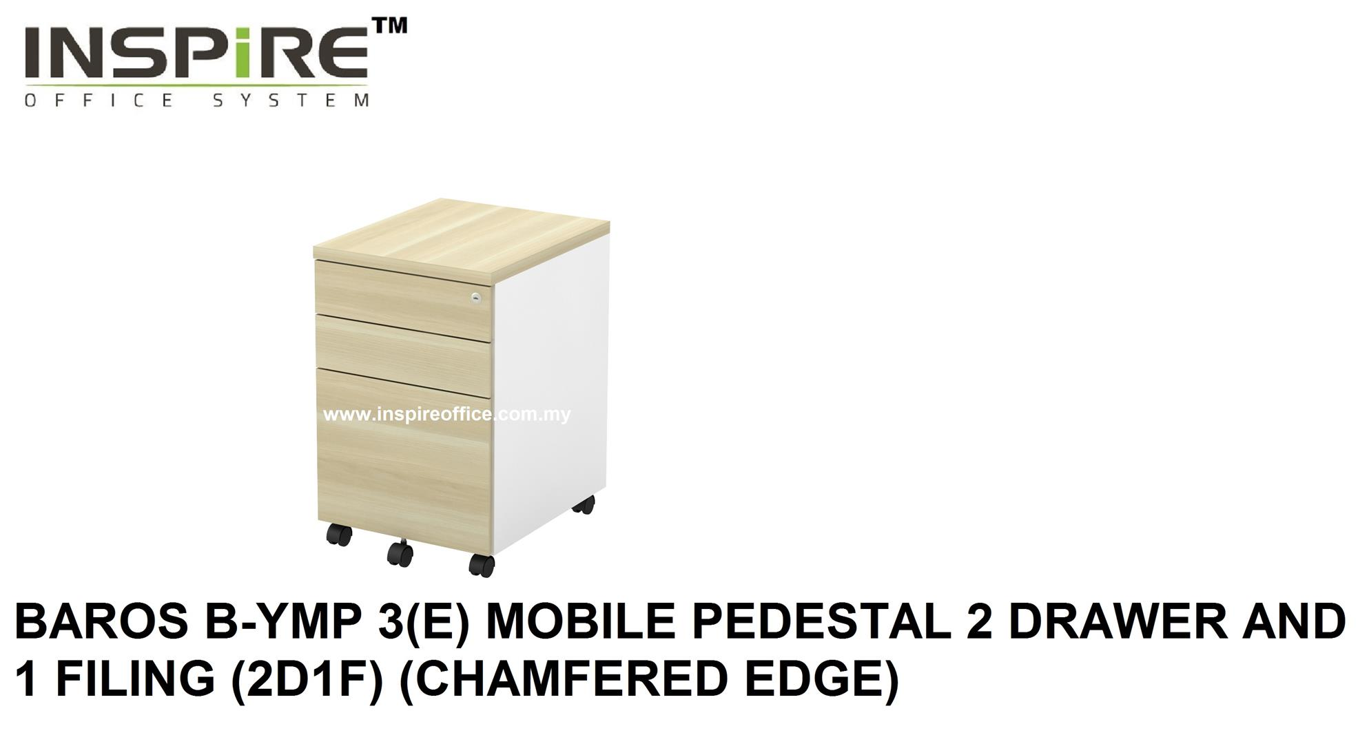 BAROS B-YMP 3(E) MOBILE PEDESTAL 2 DRAWER AND 1 FILING(CHAMFERED EDGE)