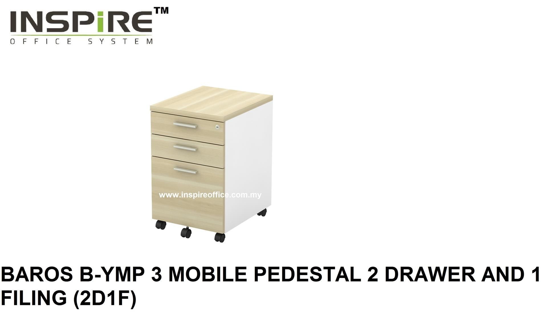 BAROS B-YMP 3 MOBILE PEDESTAL 2 DRAWER AND 1 FILING (2D1F)