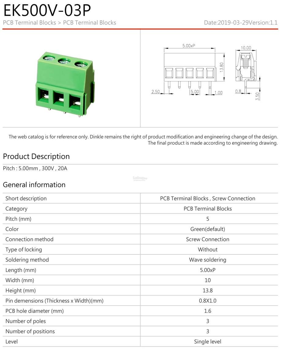Barrier Strip Terminal Block EK500V-03P