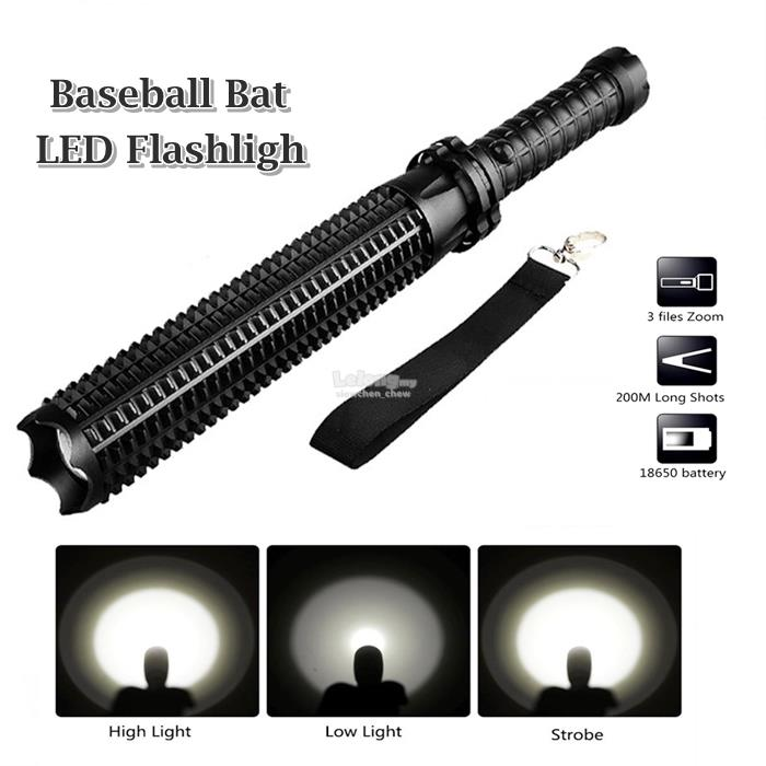 Baseball Bat Torch Flashlight LED Cree Q5 Waterproof Security Lamps Super Bright