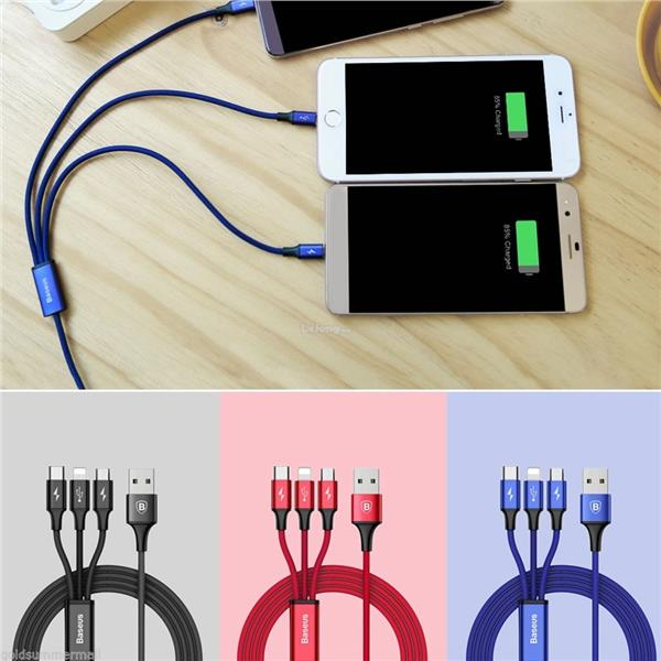 Baseus 3 in 1 USB Charger Charging Cable Micro USB,Iphone,Type-C