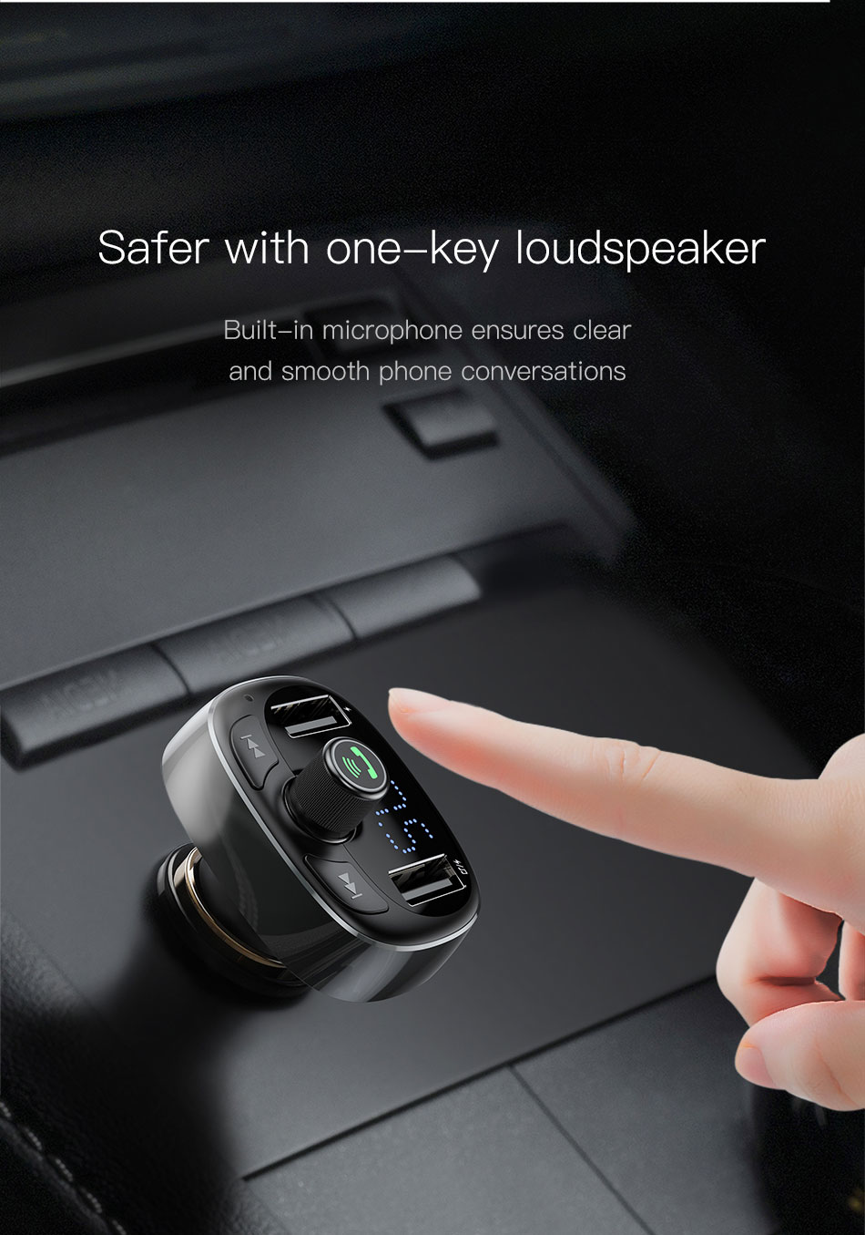 Baseus FM Transmitter Modulator AUX Handsfree Bluetooth MP3 Car Charge
