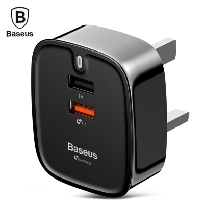 Baseus Funzi QC 3.0 Dual USB Smart Travel Charger UK Plug