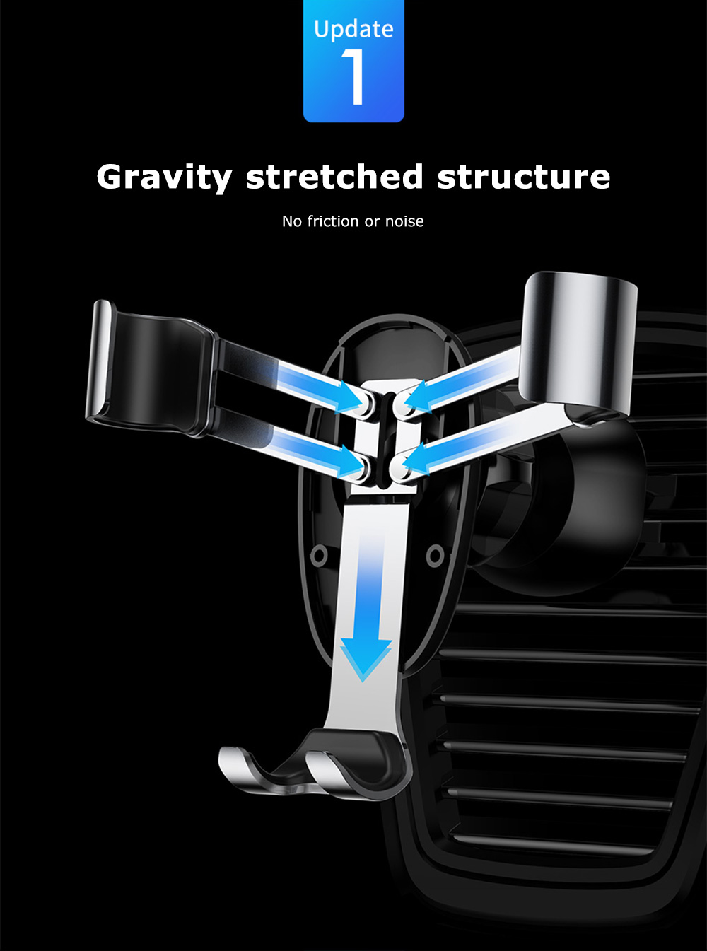 Baseus Mini Gravity Car Holder Mount Air Vent Bracket Aluminium BLACK