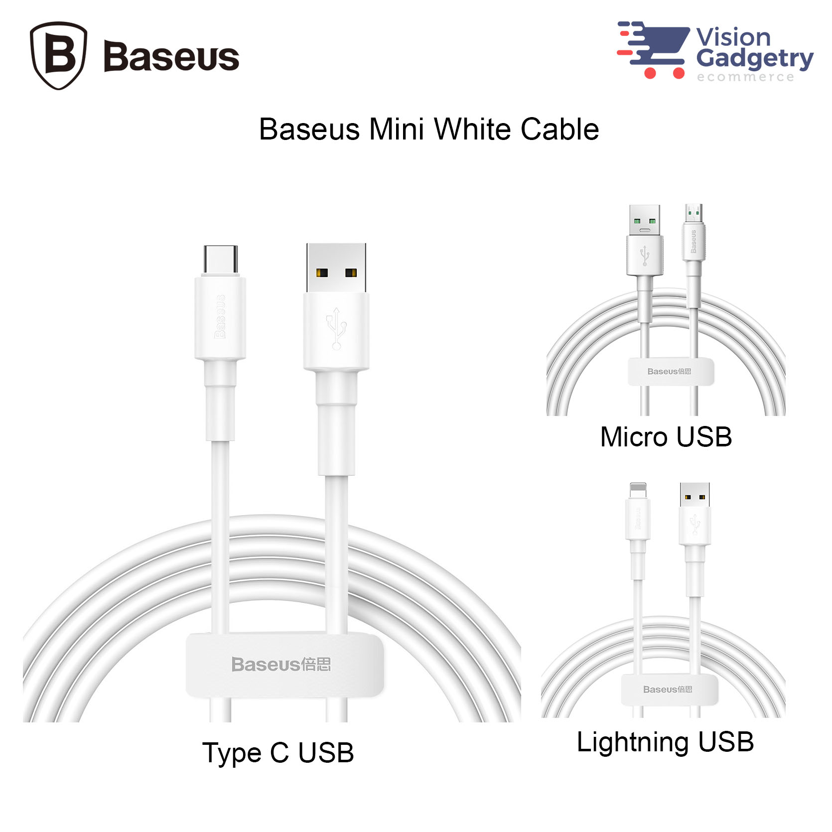 Baseus Mini White Cable Type C Lightning Micro USB Data Sync Cable Fas
