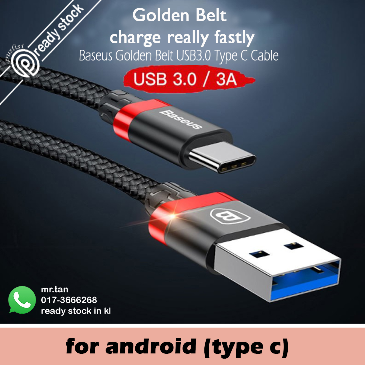 BASEUS Original Nylon Braid TYPE C 3A USB Fast Charge Cable for Samsun