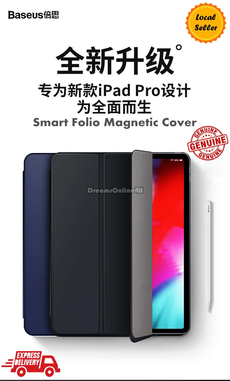 pretty nice 657bc 58a75 Baseus Smart Folio Magnetic Cover Case for New iPad Pro 11 12.9 2018