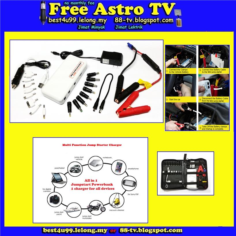 Bateri Kereta Jump Car Battery Jumper Starter Power Bank Charger USB k