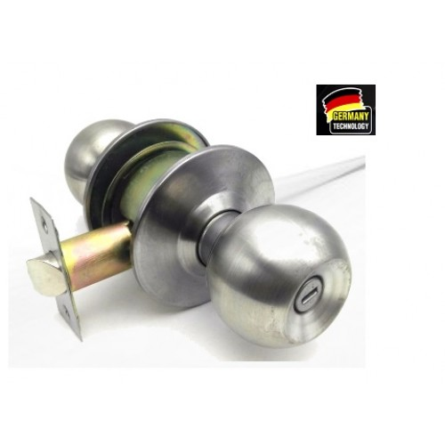 BATHROOM CYLINDRICAL LOCK/ DOOR LOCK SATIN S/ STEEL 60MM (PRIVACY)