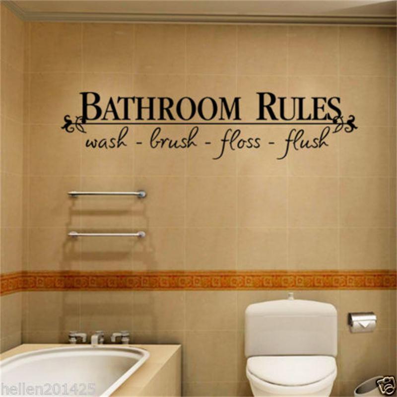 Tremendous Bathroom Rules Door Sign Vinyl Quotes Lettering Words Wall Stickers Ba Download Free Architecture Designs Sospemadebymaigaardcom