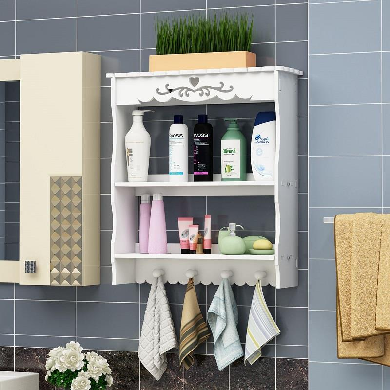 Bathroom Shelves Wall-mounted with Hooks Toilets Cosmetics Storage