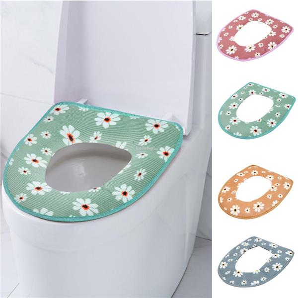 Bathroom Warmer Toilet Seat Bowl Soft Adhesive Tape Flower Washable