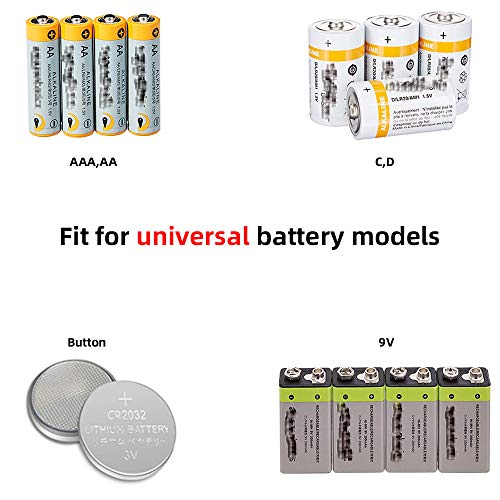 Battery Tester 4 Pack Universal Battery Checker for AA AAA C D 9V 1.5V Button