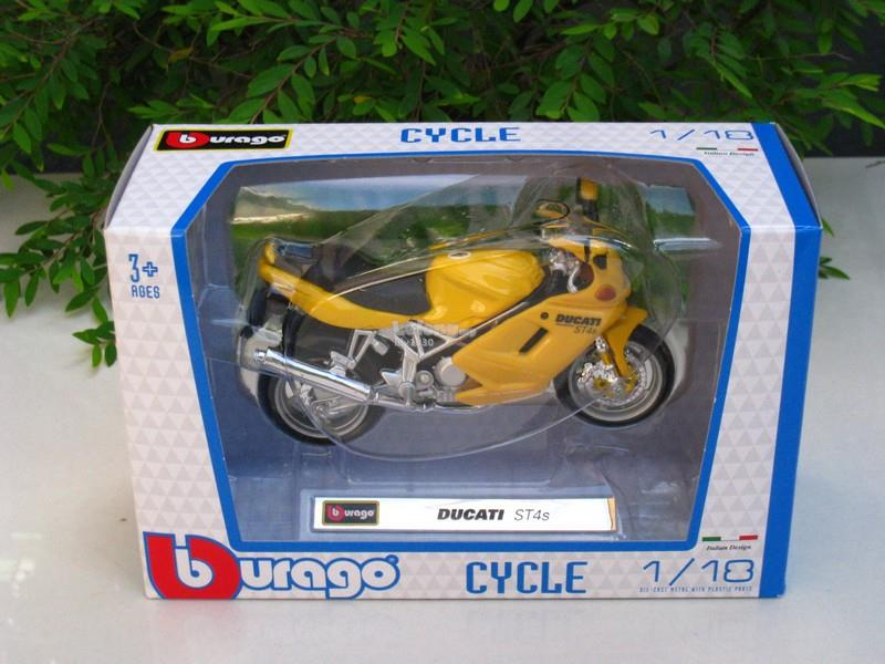 Bburago 1/18 Diecast Motorcycle DucatiST4s (Yellow) 2002