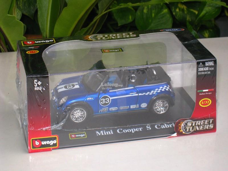 Bburago 1/32 Diecast Model Car 2006  Mini Cooper S Cabrio #33 Blue