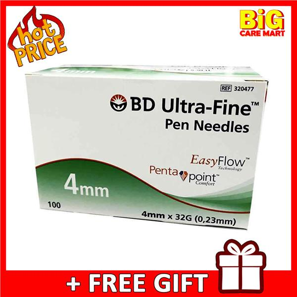 BD Ultra Fine Pen Needles 4mm x 32G for Insulin Pen 100pcs + FREE GIFT