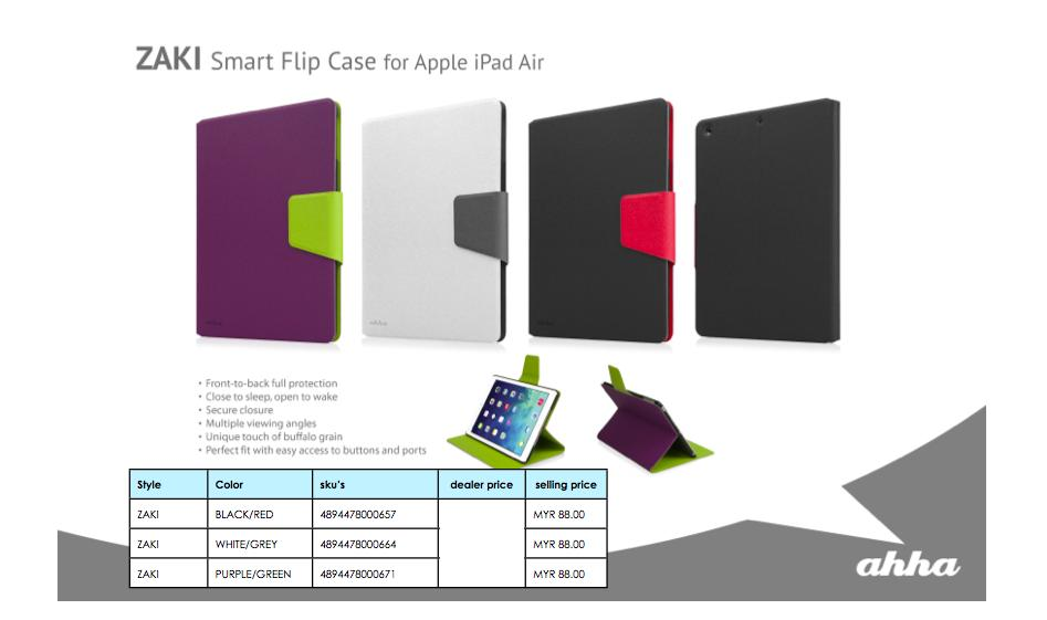 Bdotcom = Apple iPad Air Ahha Zaki Smart Flip Case