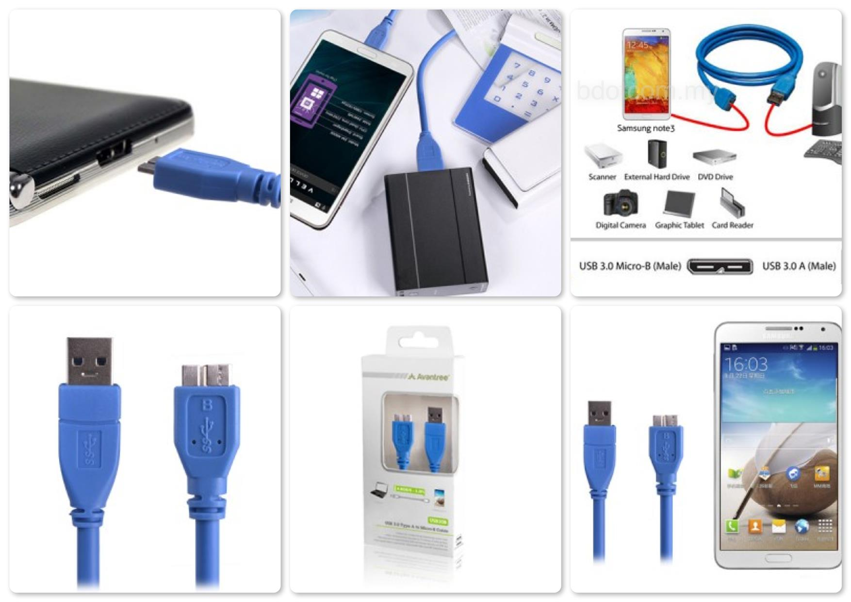 Bdotcom = Avantree USB3.0 Type A to Micro-B Cable - US-3B