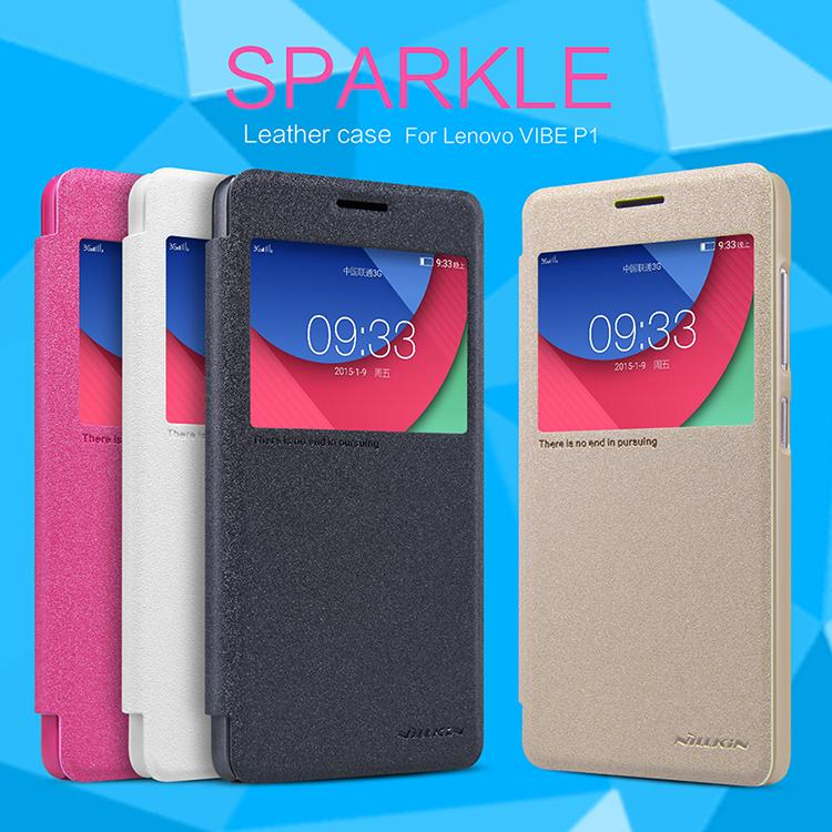 Bdotcom = Lenovo Vibe P1 Nillkin Sparkle Series Leather Flip Case