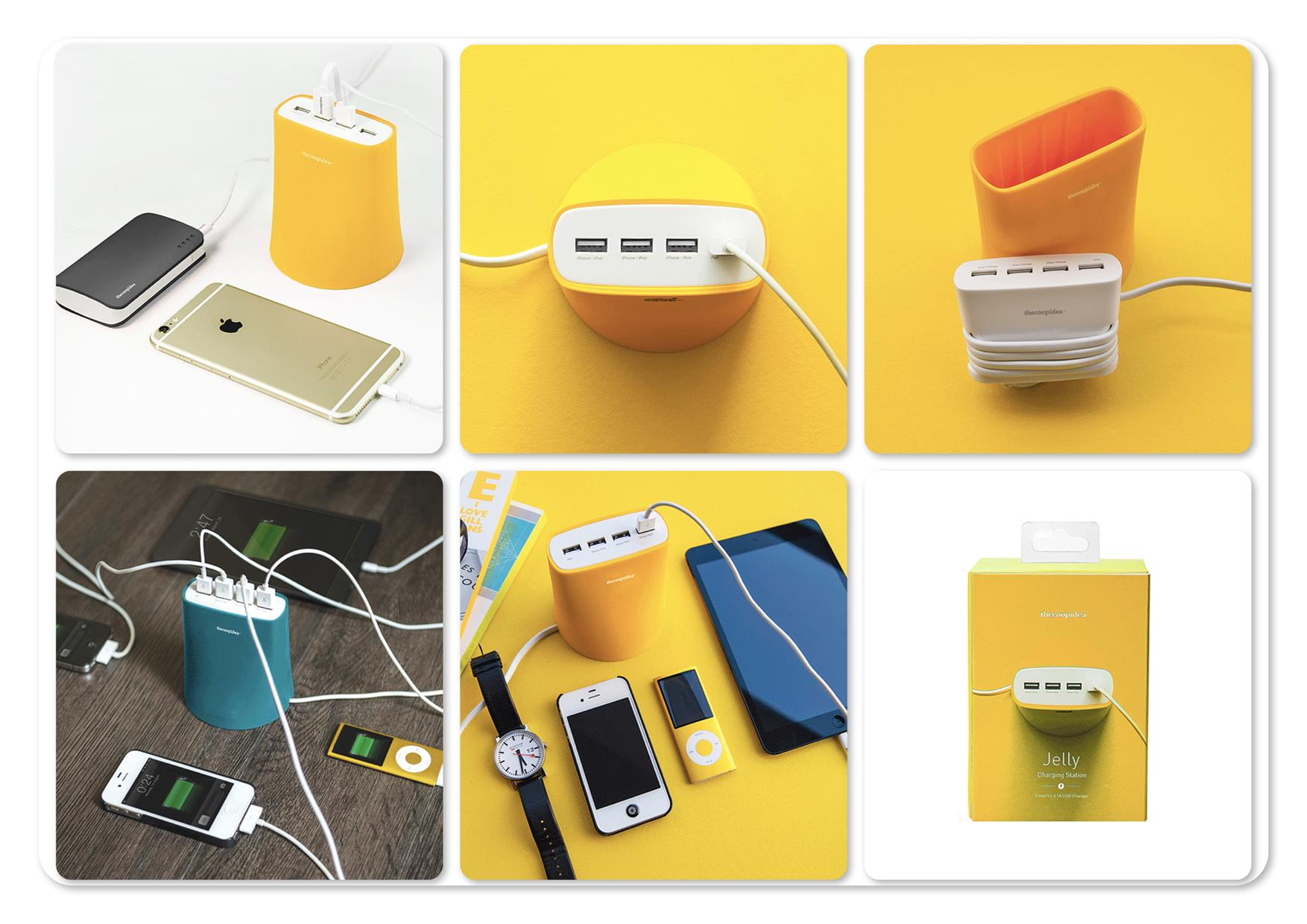 Bdotcom = TheCoopIdea Jelly 5.1A 4 Port USB Charging Station (Yellow)