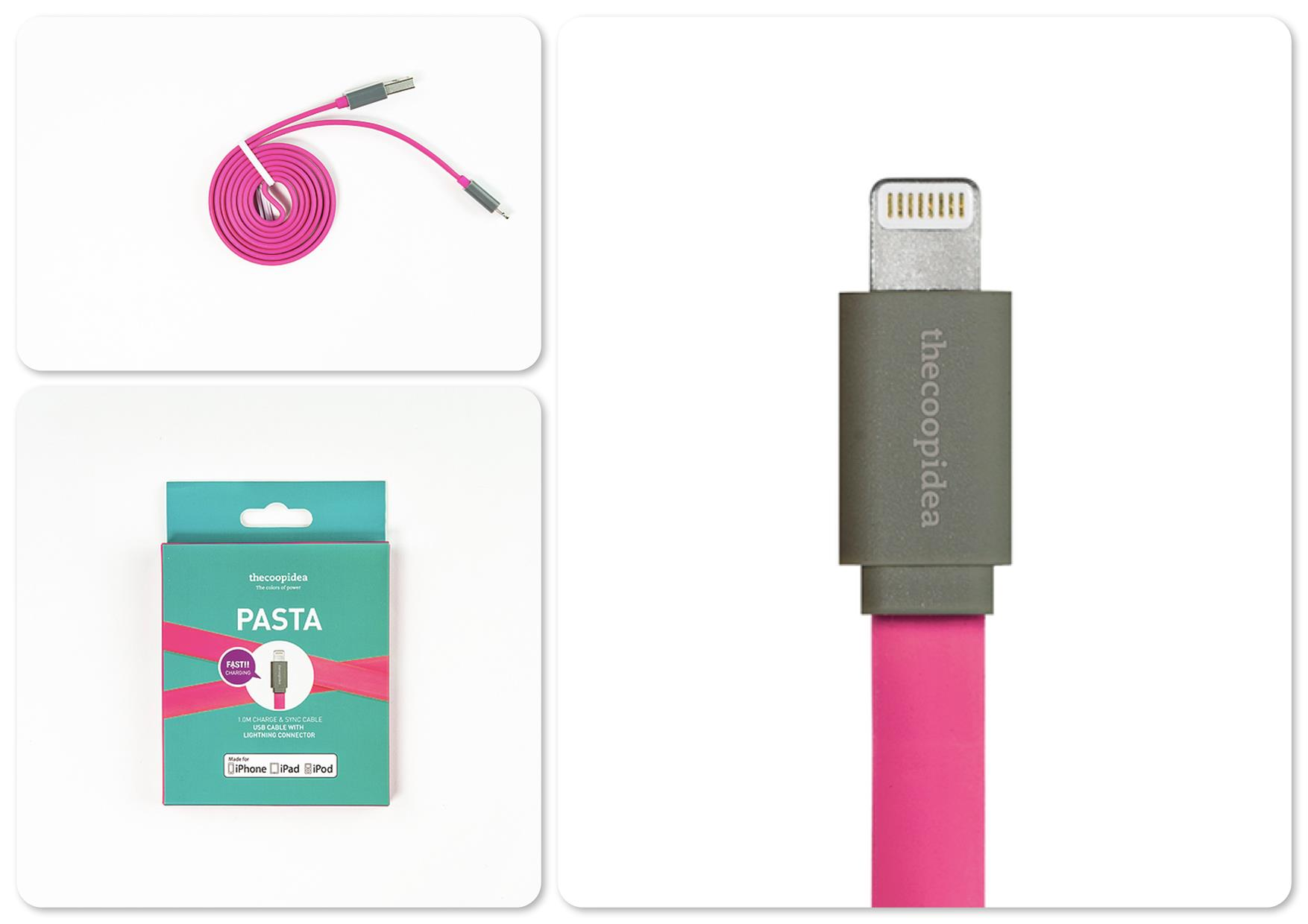 Bdotcom = TheCoopIdea Pasta Lightning to USB Flat Cable 1m (Pink)