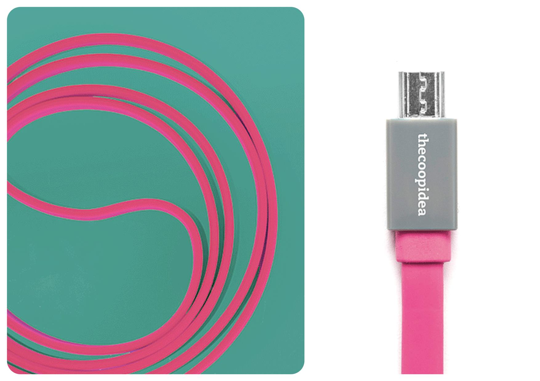 Bdotcom = TheCoopIdea Pasta Micro USB to USB Flat Cable 1m (Pink)