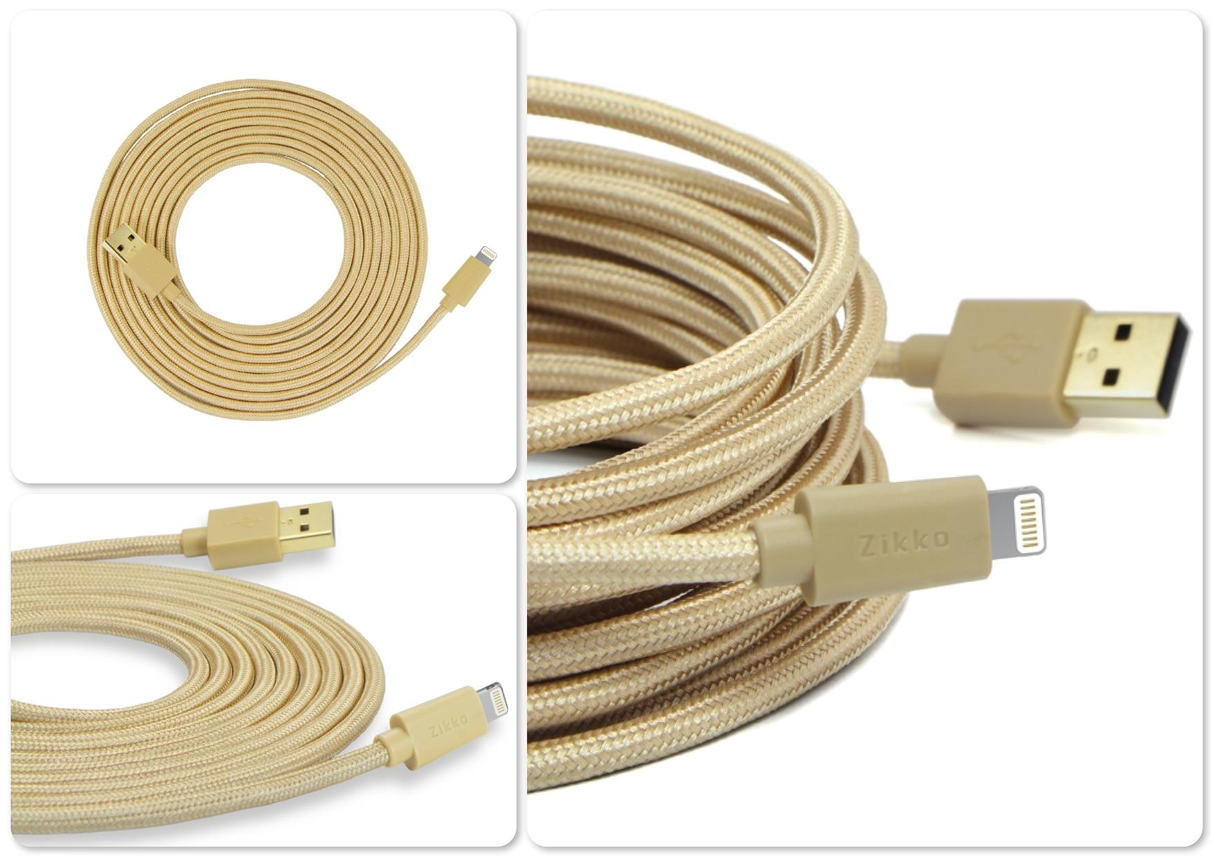 Bdotcom = Zikko 3 Metre Woven type Lighting Sync & Charge Cable = Orig..