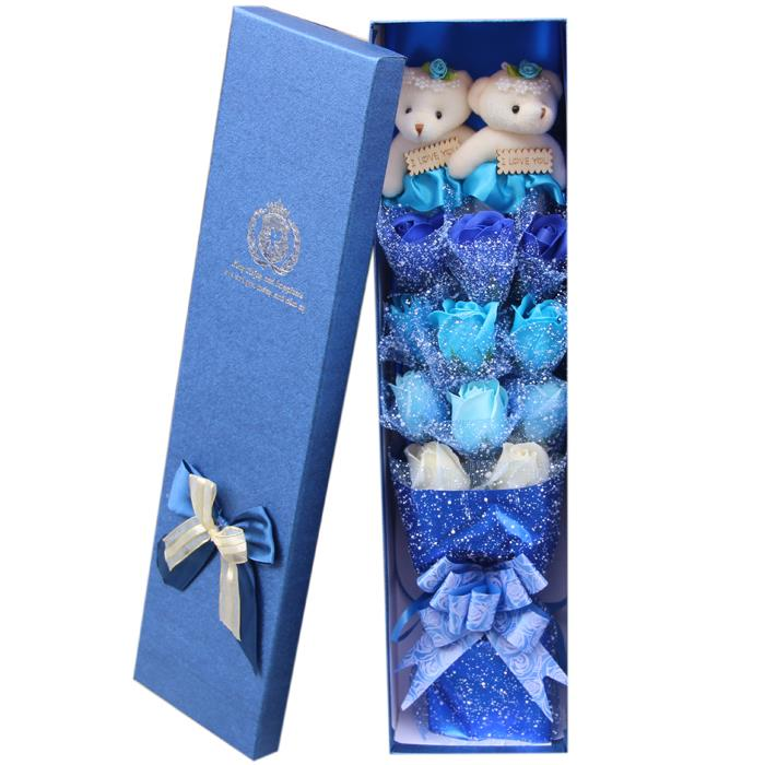 Bear Bouquet Blue Flower Gift Box