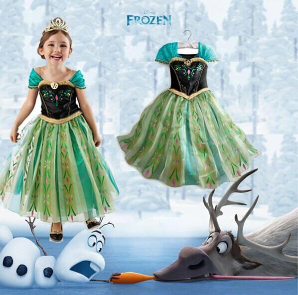 Frozen Anna Gown Green Kids Dress Costume