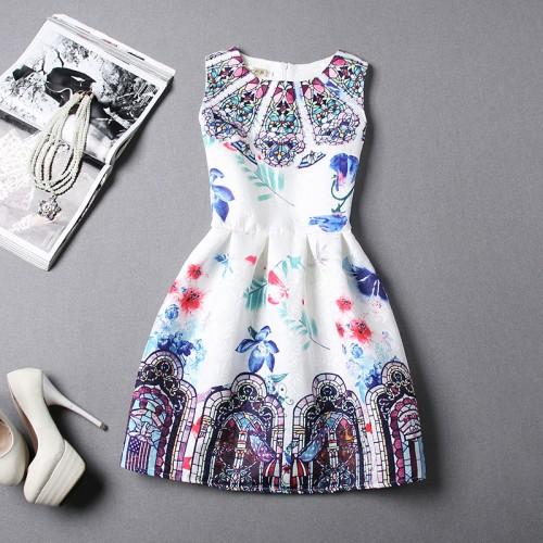 c209abe85ce87 Beautiful Korean Roman Print Skater Dress