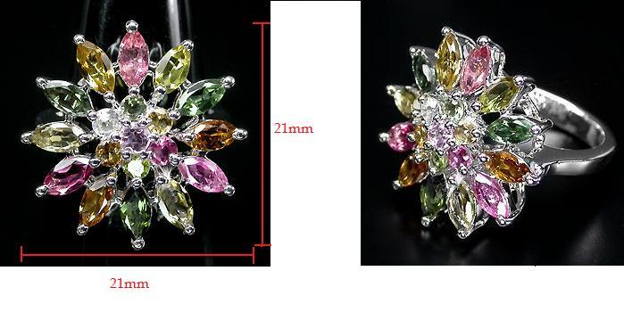 Beautiful top fancy multi colour Tourmaline silver ring - 6.97g