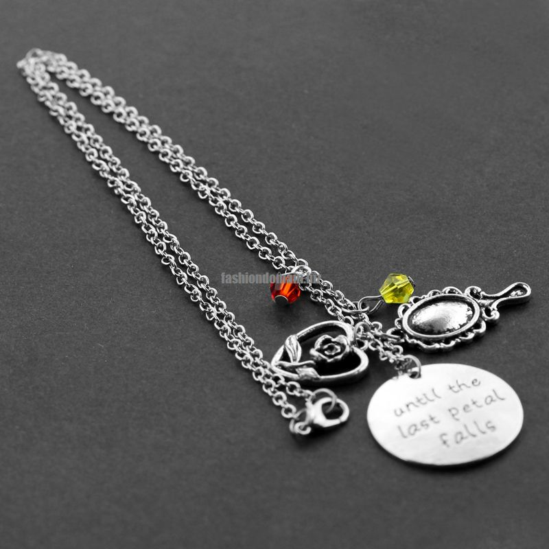 necklace the file rose beauty beast shopdisney and