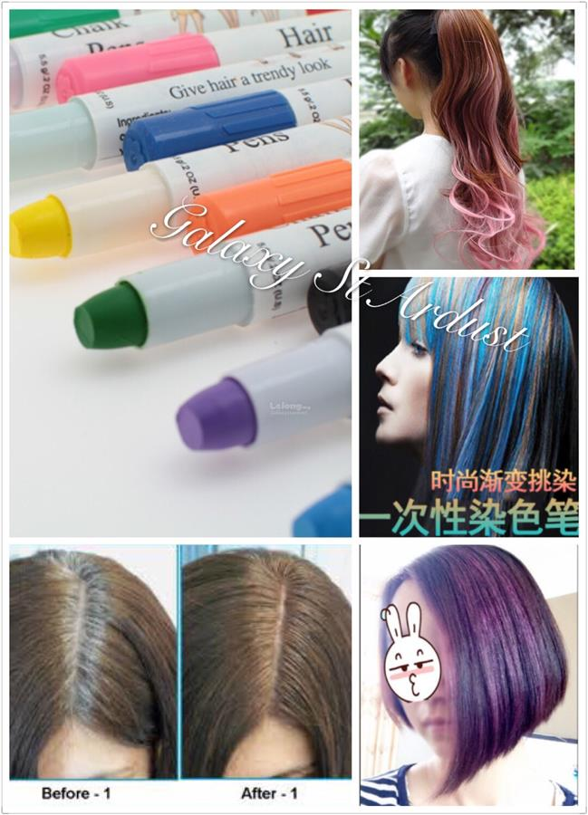 Beauty Hair Dye Waxy Crayon Stick Pen Easy Highlight Color Washable
