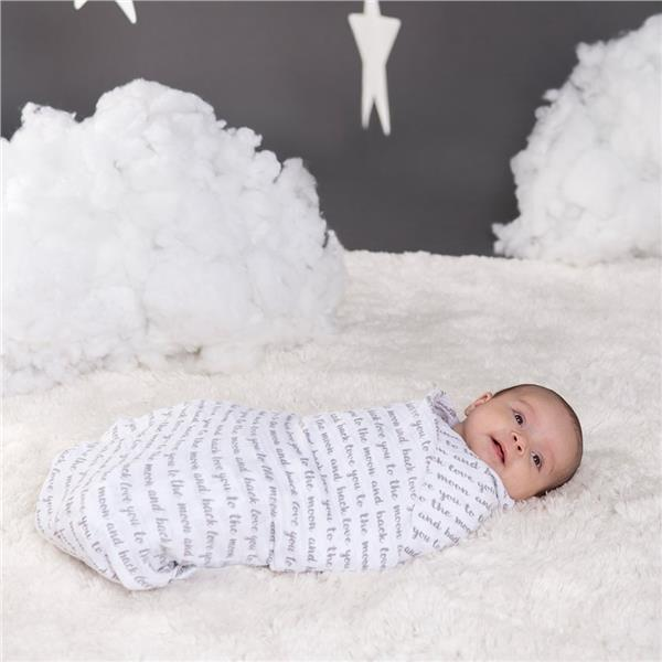 Bebe au Lait Swaddle Blanket, Love/Luna - 2pc