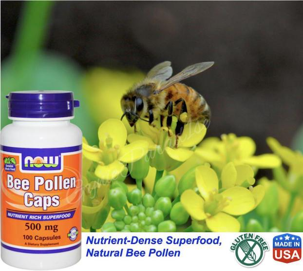 Bee Pollen 500mg, Natural Bee Pollen 100 Capsules, Made in USA