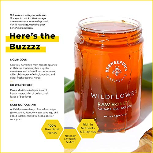 BEEKEEPER'S NATURALS Wildflower Honey - Raw, Wildcrafted, and Unprocessed- Ric