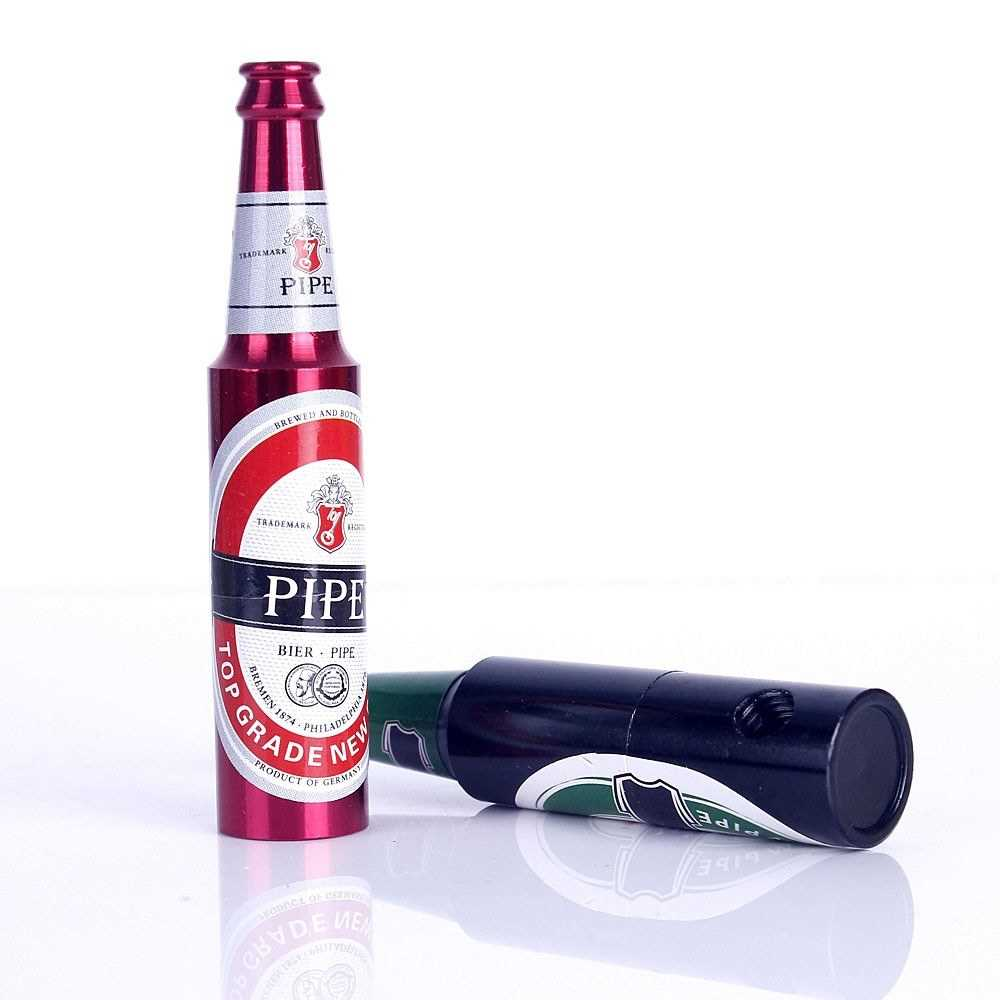 Beer Bottle Shape Smoking Herb Pipe Innovative Portable Mini Creative Tobacco
