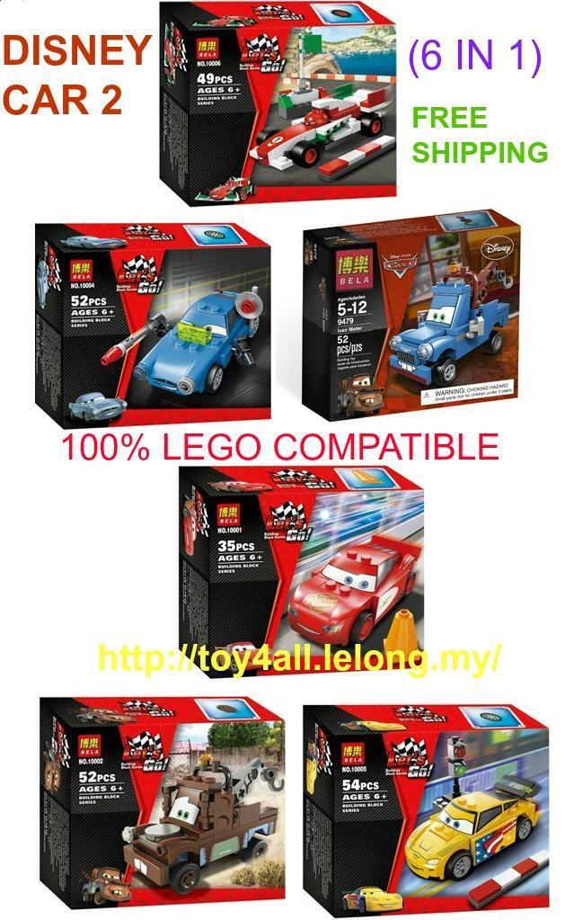 Bela Disney Car 2 Lego Compatible Brick 6 In 1 Free Shipping