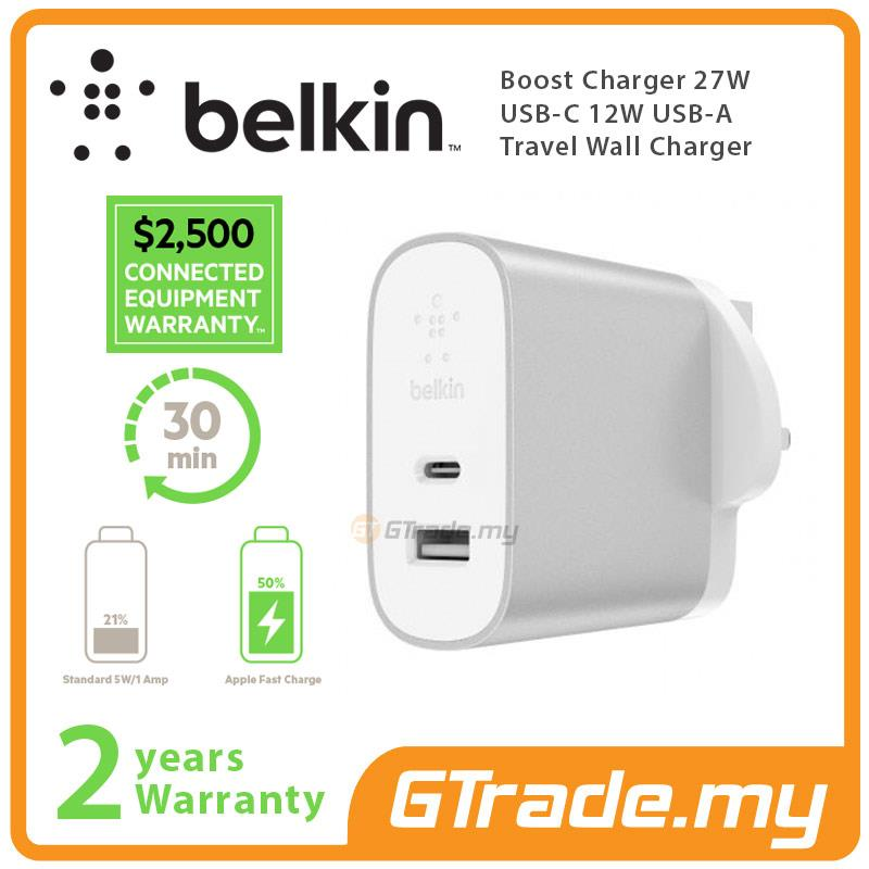 Belkin Boost Charger 27W USB-C 12W USB-A Travel Wall Charger