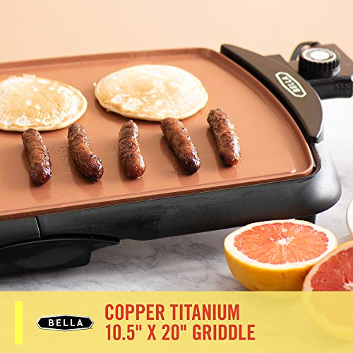 "BELLA (14606) Copper Titanium Coated Non-Stick Electric Griddle, 10.5 "" x"