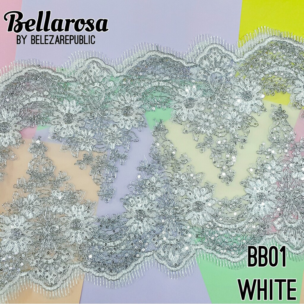 Bellarosa Border Lace By - [WHITE,1M, DOUBLE LAYER]
