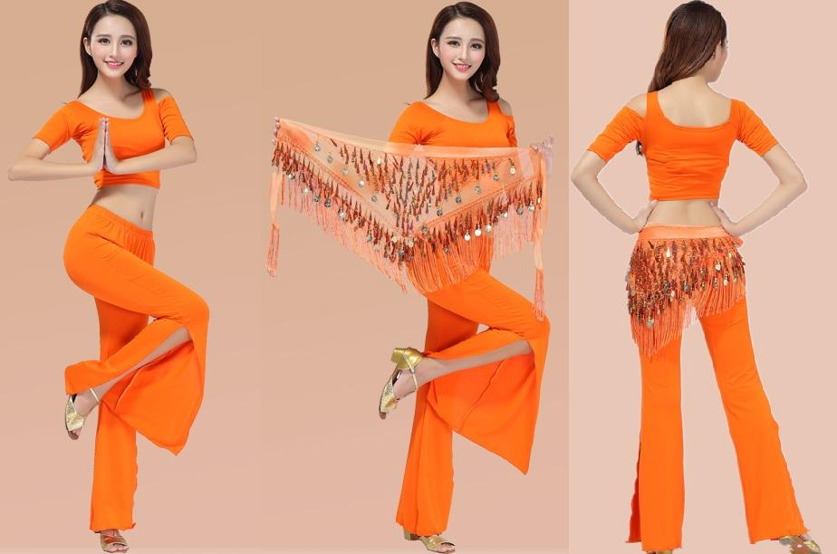 Belly Dance 3pcs Set top+long pants+ waist wrap FMA998