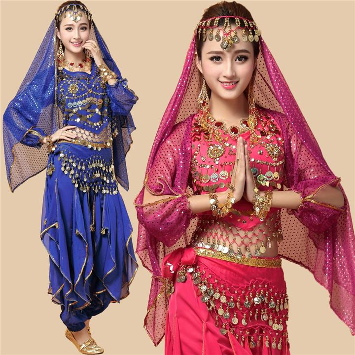 Belly Dance Indian Dance 4Pcs Set Top Skirt Head Scarf Waist Belt (06)