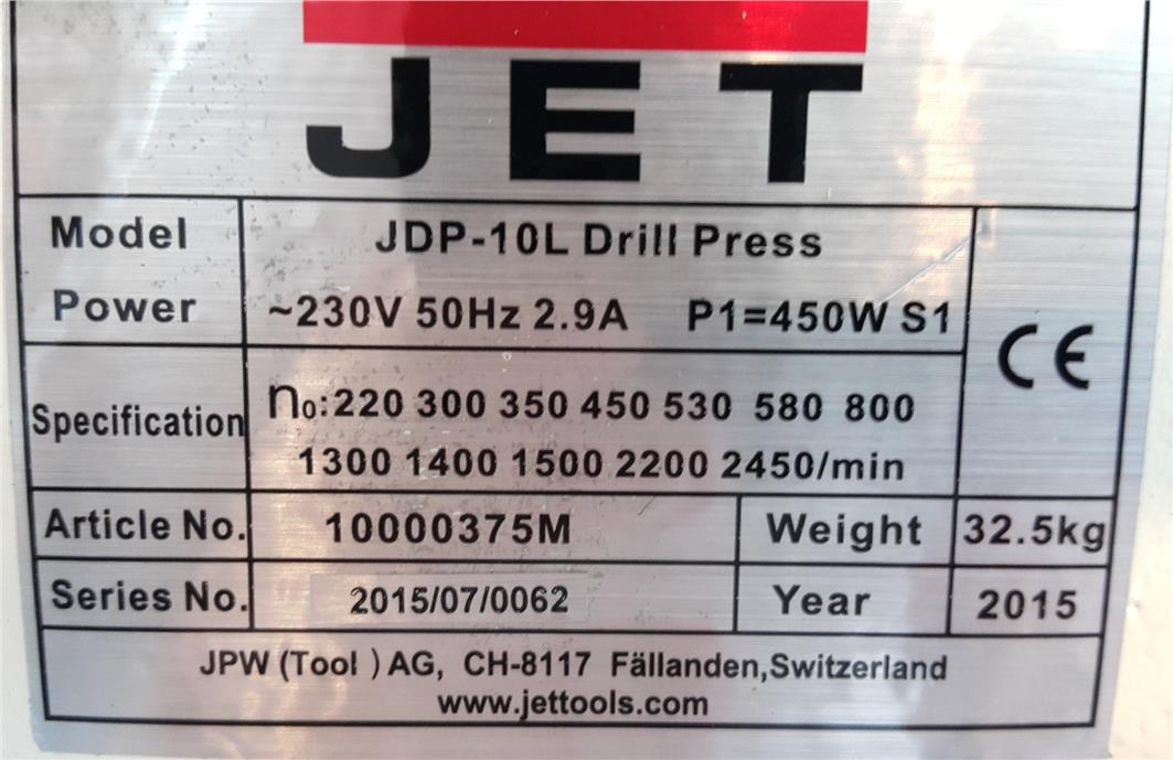 Bench Drilling Machine JET JDP-10L ID228452