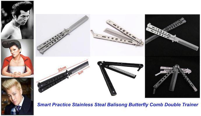 Bench Made Stainless Steal Balisong, switchblade, Butterfly Comb