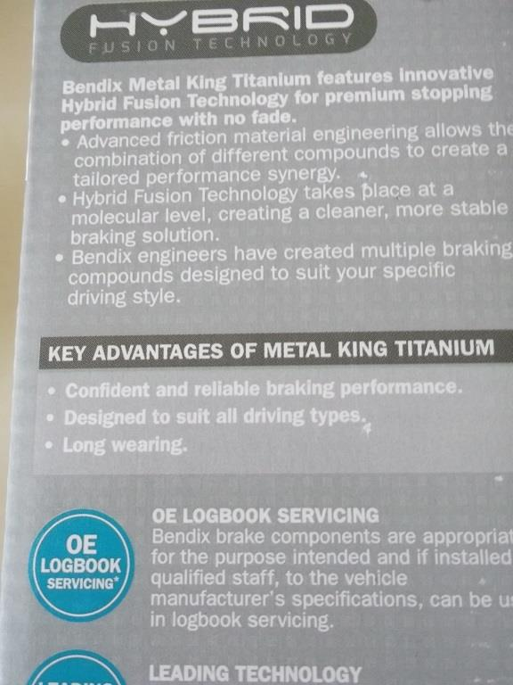 BENDIX METAL KING TITANIUM For OLD MYVI 1.0/ 1.3 (2005-2010)
